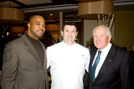 Toasting to BLT were, from left, Atlanta Councilman Kwanza Hall, Chef Tourondel and W Atlanta developer Hal Barry.
