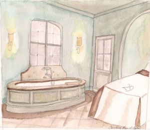 Rendering for in Home Spa Rooms by Lydia Mondavi