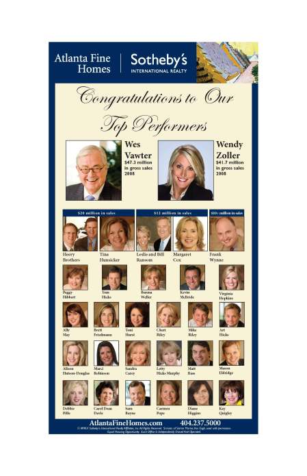 Atlanta Fine Homes Sotheby's International Realty Top Performers 2008