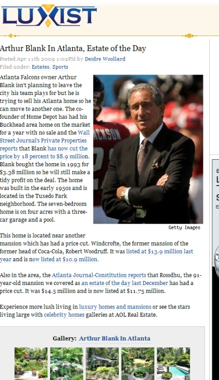 Arthur Blank's Home Featured on Luxist.com (3639 Tuxedo Road)