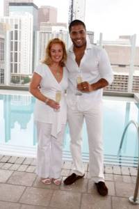 Jennifer Hollingsworth and Angel Ramos, both Realtors with Atlanta Fine Homes Sotheby's International Realty enjoy the party