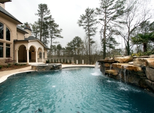 Northside Drive Pool with Cascading Waterfall