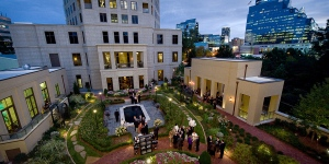 The Mansion on Peachtree English Garden at twilight photo courtesy of Buckhead On-site Photography
