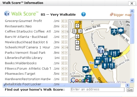 Walk Score Card for The Mansion on Peachtree