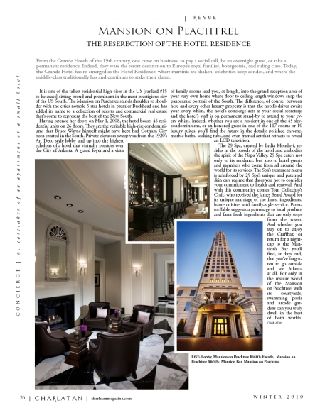 The Mansion on Peachtree featured in Charlatan Magazine