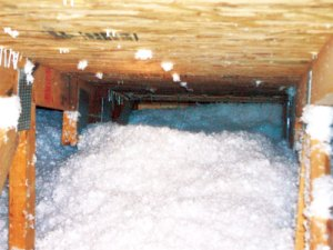 Insulation distrubed at roof vent