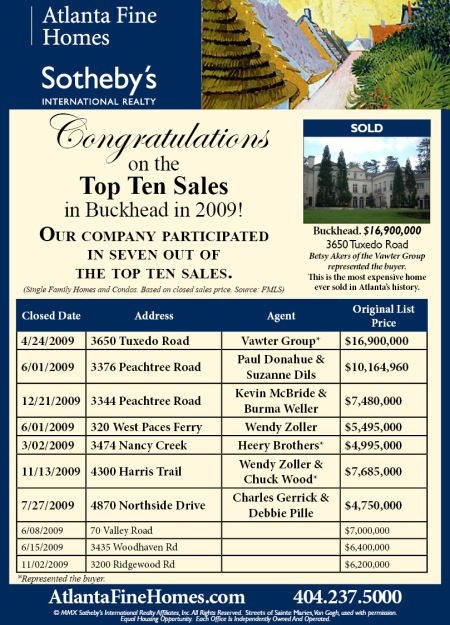 Top Ten Sales in Atlanta Residential Real Estate 2009