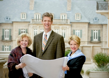 Jenny Pruitt, CEO/Founder; David Boehmig, President/Founder, and Nancy See, Sr. VP, Managing Broker/Founding Partner review expansion plans from the balcony of the new office space for Atlanta Fine Homes Sotheby's International Realty.