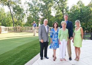 Shepherd Center Foundation Executive Director Scott Sikes, Atlanta Fine Homes Sotheby's International Realty's Beverly Ricker, Senior VP Nancy See, President David Boehmig and Anne Schwall look on as the Putt against the Pro Contest on The Aberdeen's private putting green began